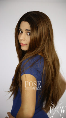 Brown Ombre Long Straight Lace Front Wig - Large 23
