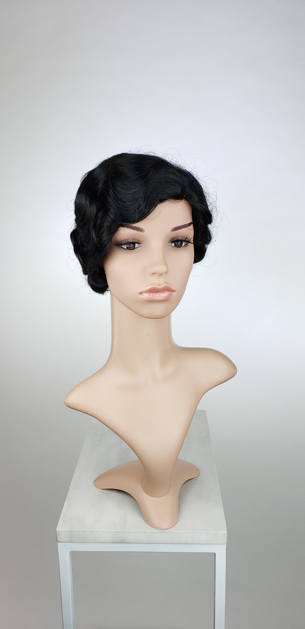 Black Short Finger Wave Vintage Curls Costume Fashion Wig FROA1