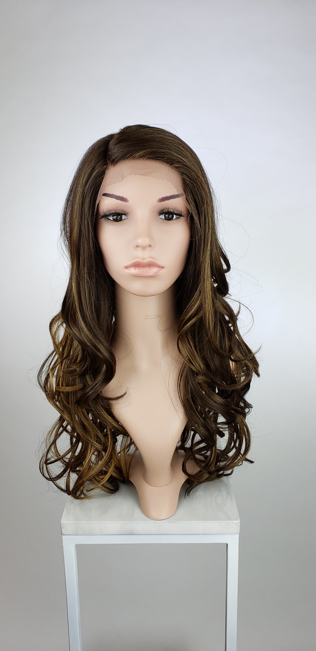 Dark Brown with Highlights Long Wavy Human Hair Blend Lace Front Wig - Duchess Series HBLSEL18