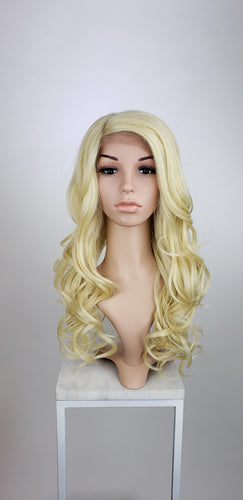 Blonde Long Wavy Human Hair Blend Lace Front Wig - Duchess Series HBLSEL44