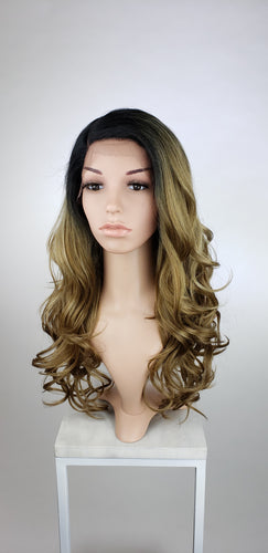 Ash Brown Ombre Long Wavy Human Hair Blend Lace Front Wig - Duchess Series HBLSEL64