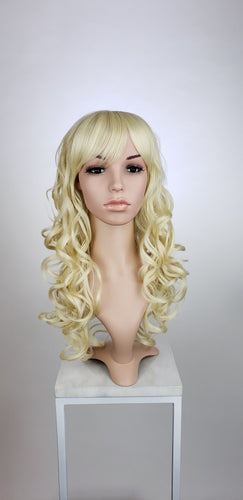 Blonde Long Curly with Bangs Fashion Wig HSEVE44