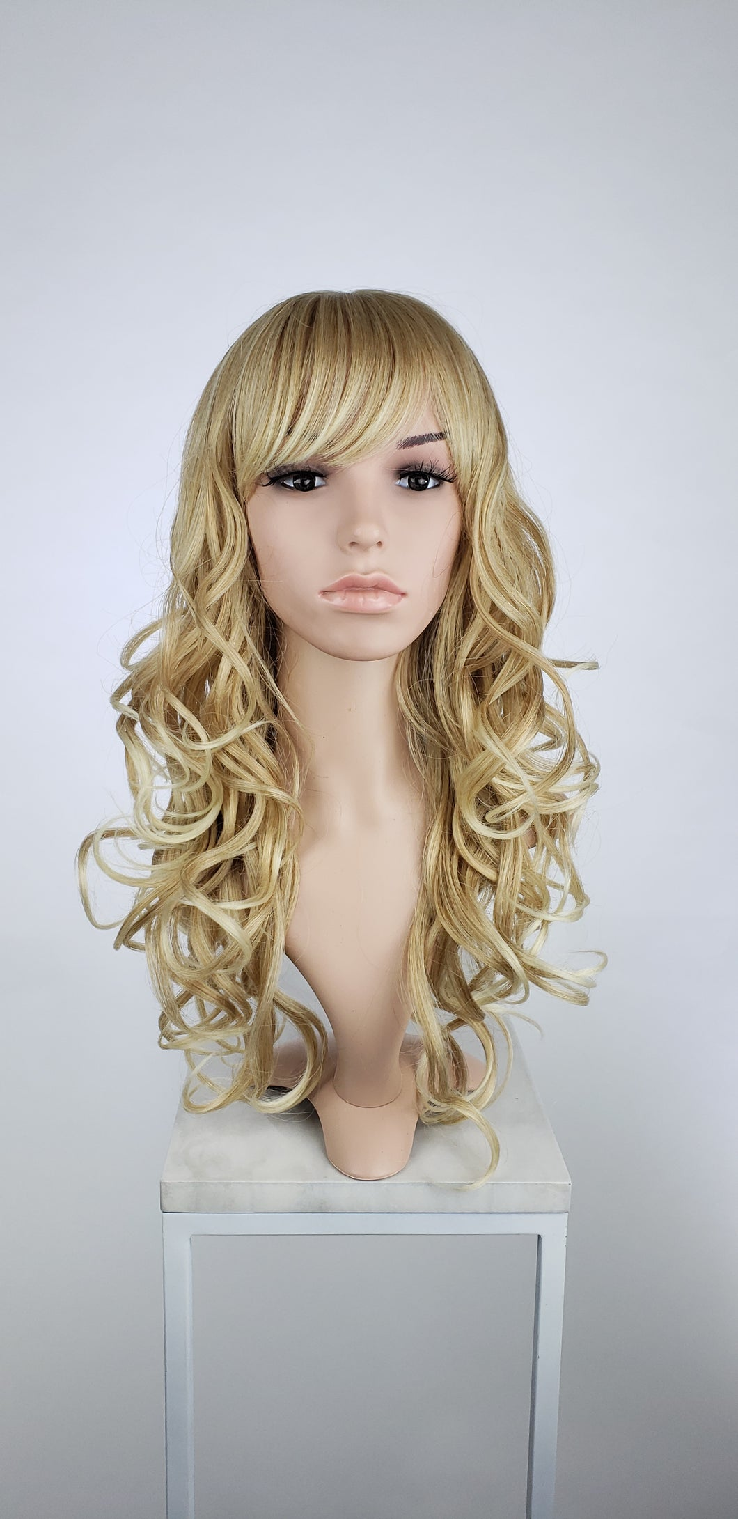 Strawberry Blonde Ombre Long Curly with Bangs Fashion Wig HSEVE91