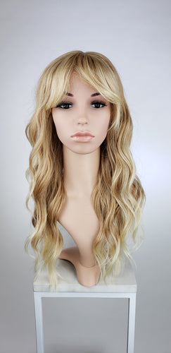 Strawberry Blonde Ombre Long Curly Hair with Bangs Fashion Wig - Large 23
