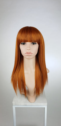 Copper Red Mix Long Straight with Bangs Fashion Wig - HSHAL66