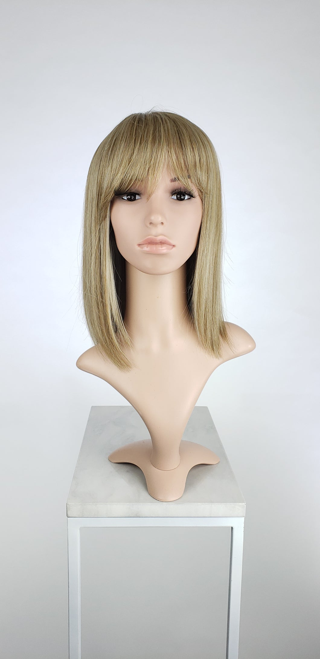 Dark Ash Blonde Mix Medium Length Bob with Bangs Fashion Wig HSMSS31