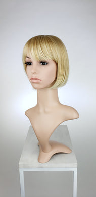 Strawberry Blonde Ombre Short Straight Bob with Bangs Fashion Wig HSPET91