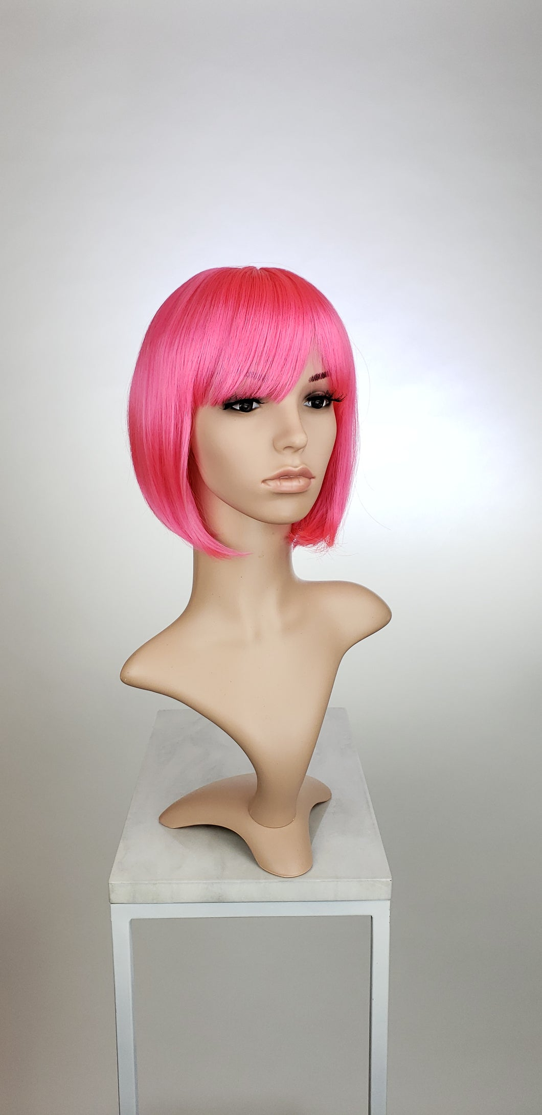 Hot Pink Short Straight Bob with Bangs Fashion Wig HSRAZ164