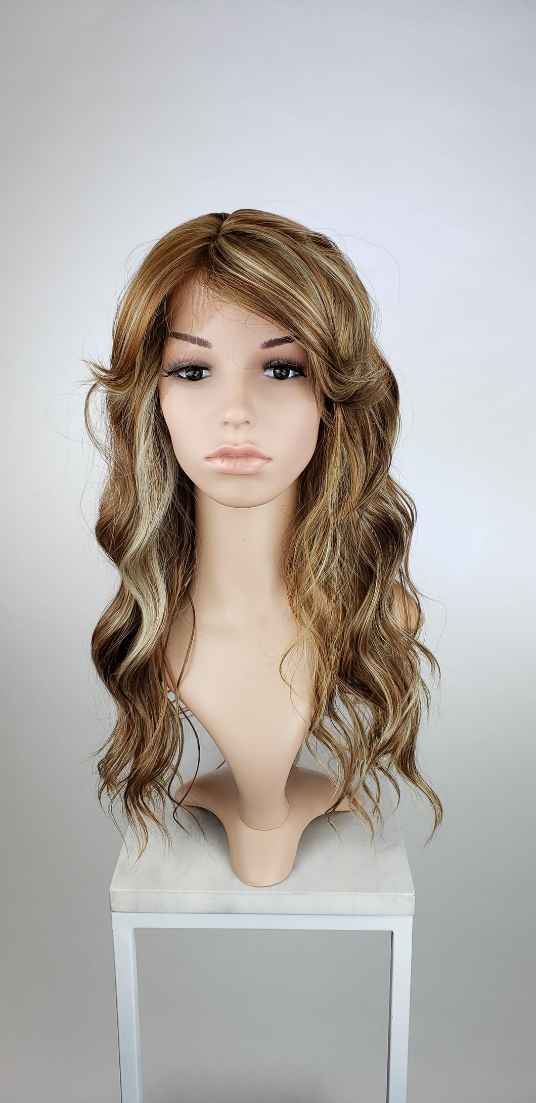 Brown with Highlights Long Wavy with Bangs Lace Front Wig - Duchess Series LDTEA26