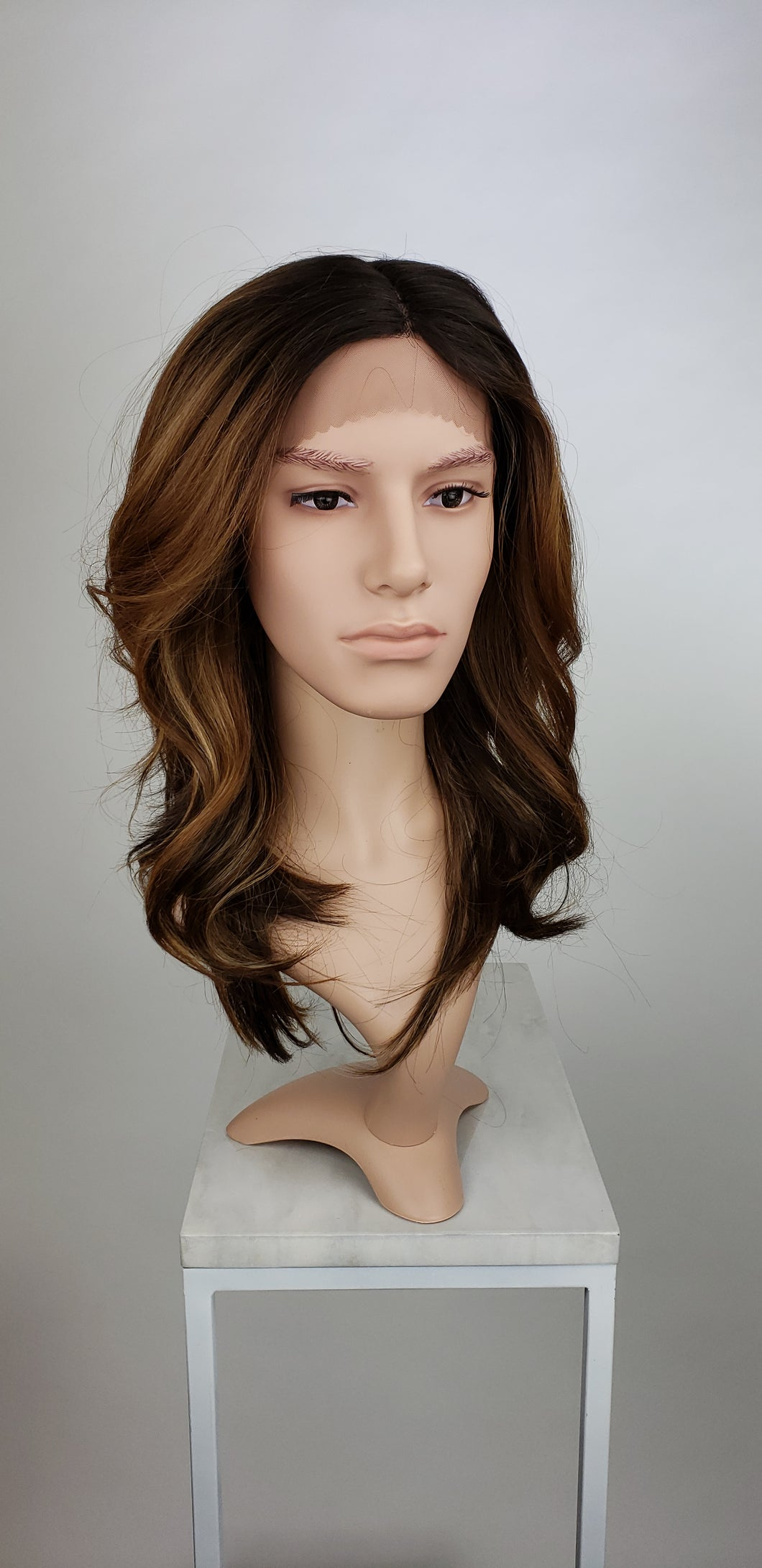 Mens Brown Long Wavy Lace Front Wig - LLSAF70