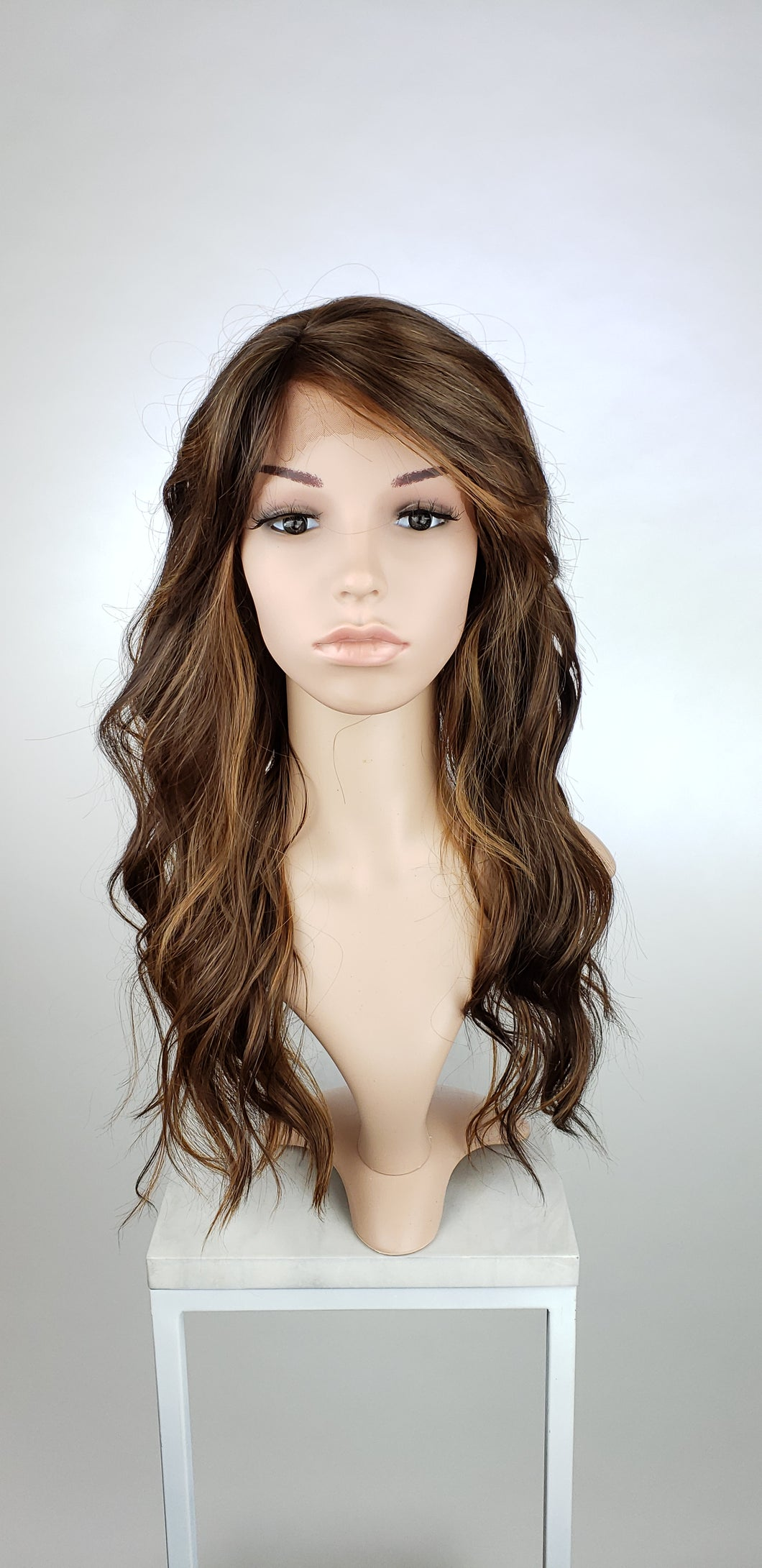 Dark Brown with Highlights Long Wavy with Bangs Lace Front Wig - Lady Series LLTEA18