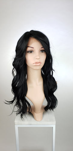 Black Long Wavy with Bangs Lace Front Wig - Lady Series LLTEA1