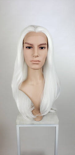 Mens White Long Straight Lace Front Wig - LPSKY69