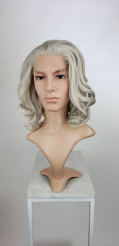 Mens Silver Grey Medium Length Wavy Lace Front Wig - LPZOE23