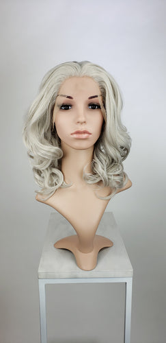 Silver Grey Medium Length Wavy Lace Front Wig - Princess Series LPZOE23