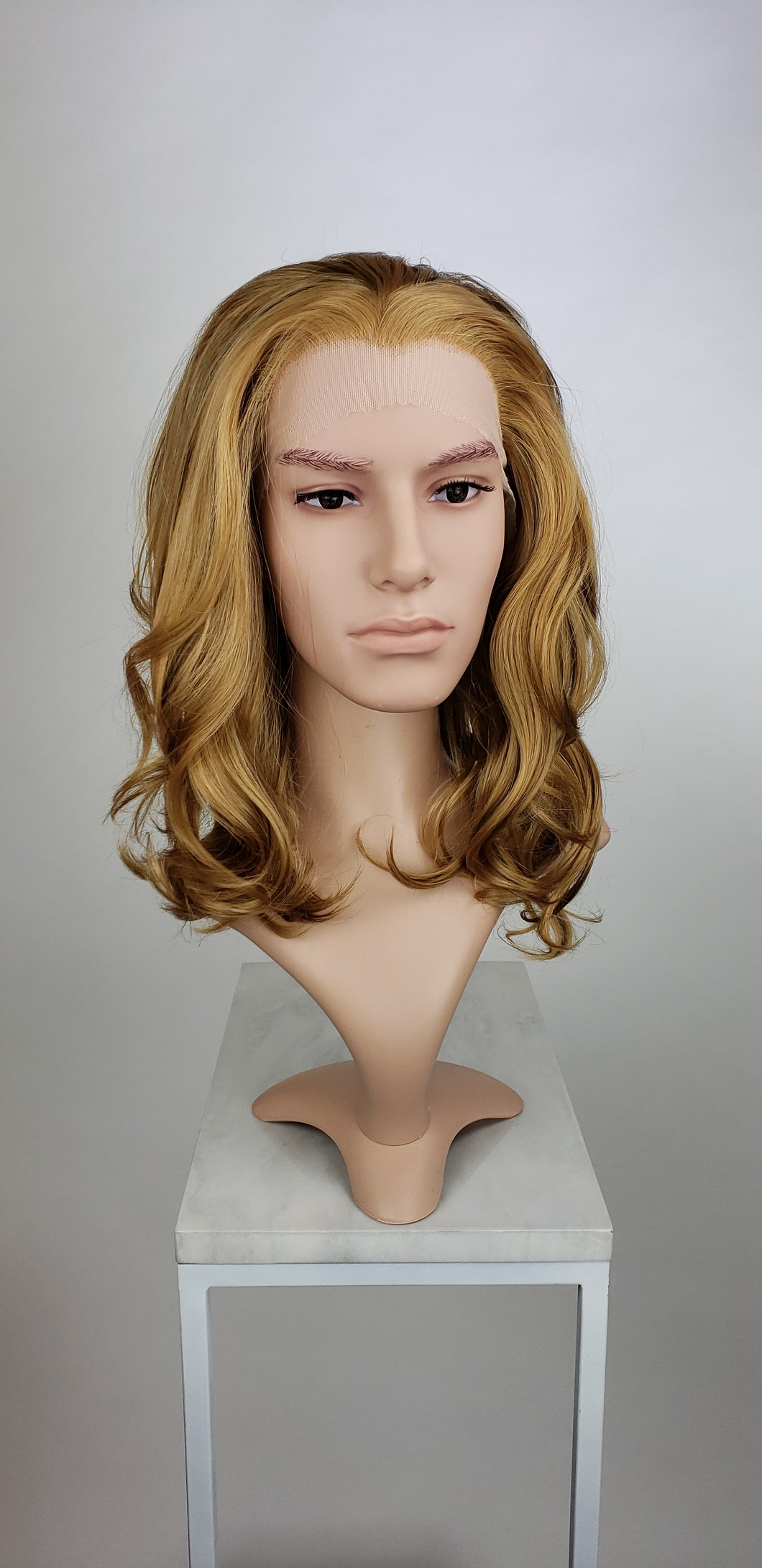 Mens Dark Blonde / Light Brown Mix Medium Length Wavy Lace Front Wig - LPZOE35