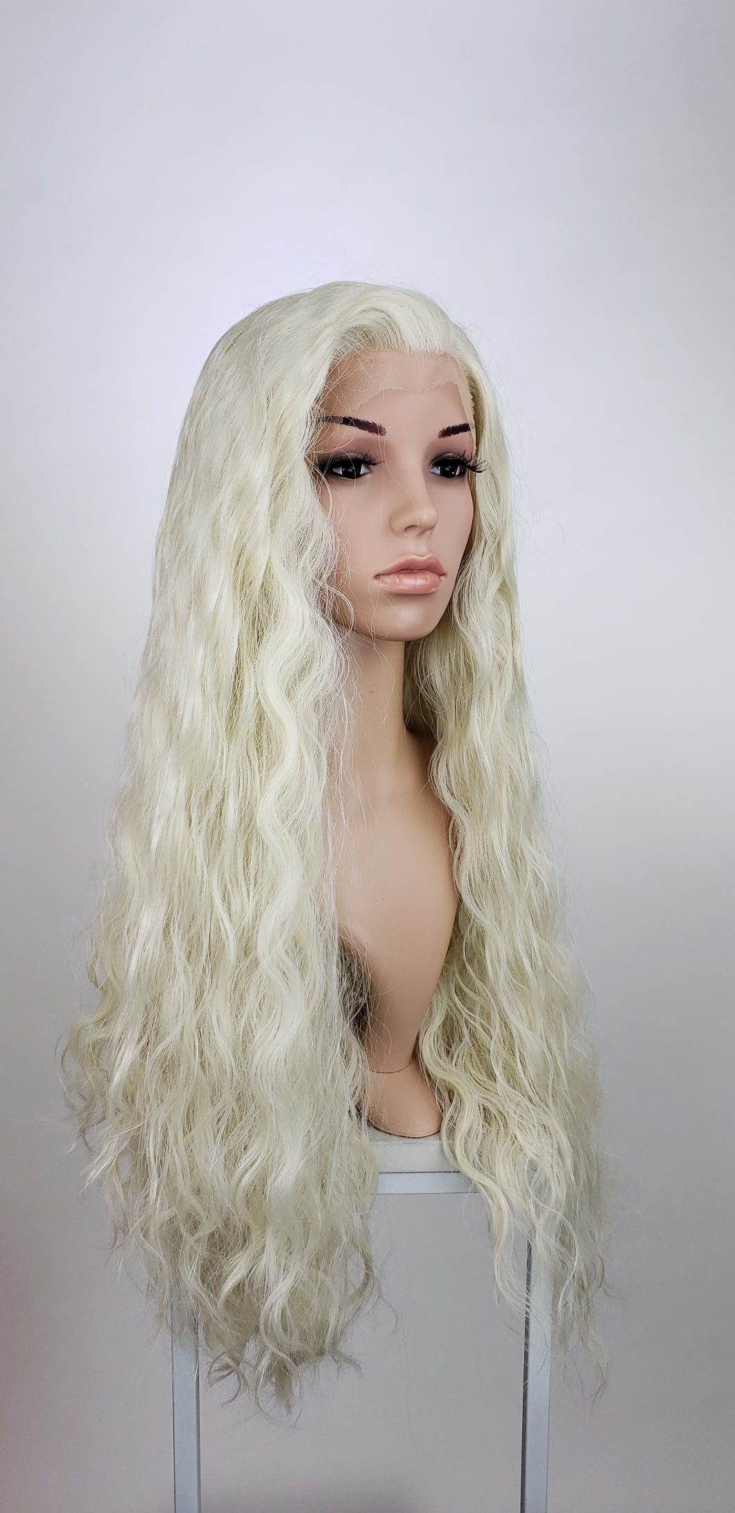 White Blonde Long Wavy Lace Front Wig Extra Thick 200