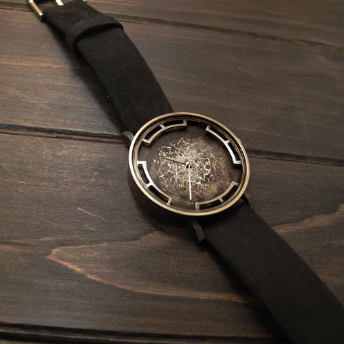 Nickel/Black Crackle Watch