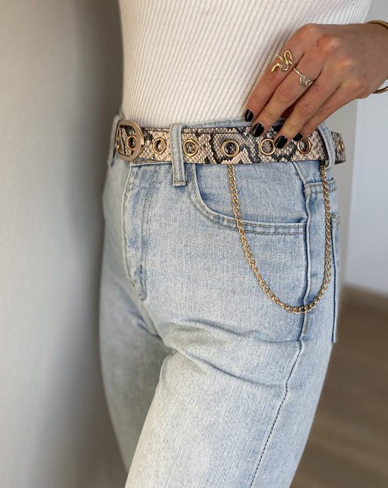 SNAKE SKIN GOLDEN CHAIN BELT