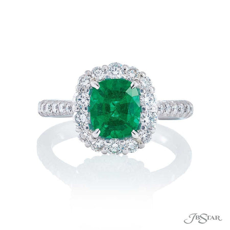 Green emerald and diamond ring 1.24ct cushion-cut emerald | 0133-016 front view