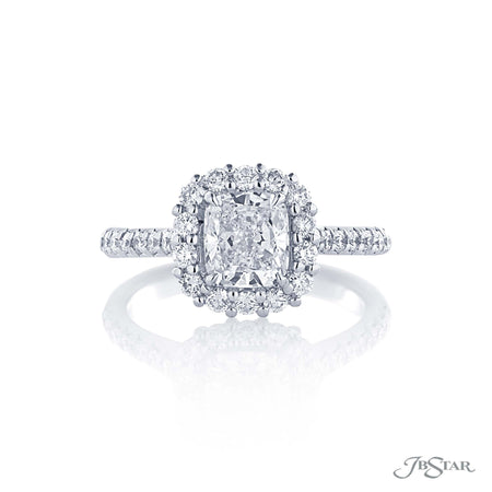 Platinum Halo Diamond Engagement Ring 1.21 ct Cushion Cut, 0133-019