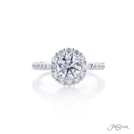 Platinum Round Diamond Halo Engagement Ring 1.00 ct Center, 0133-020