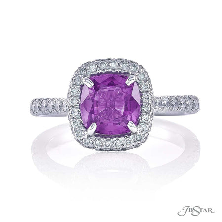 0134-090 1.78 cushion cut purple sapphire and diamond ring front view