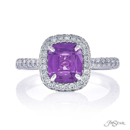 0134-093 Purple sapphire 1.52ct. no heat cushion and diamond ring front view