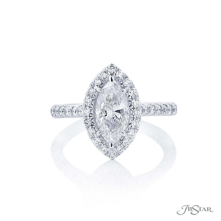 Platinum Halo Diamond Engagement Ring Marquise 1.30 ct, 0134-165