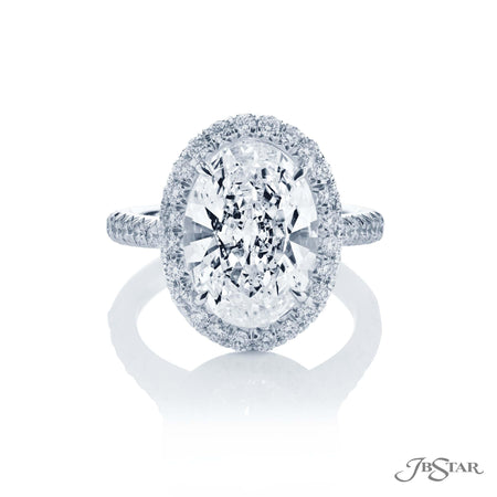 0136-018 | Diamond Engagement Ring 5.01 ct Oval Cut Micro Pave Setting Front View