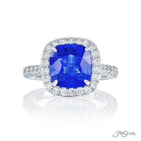 0136-020 3.65 ct cushion cut sapphire and diamond ring front view