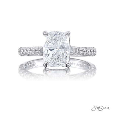 0136-024 | Diamond Engagement Ring 2.51 ct. Cushion Cut Pave Shank Front View