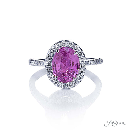 0137-403 | Pink Sapphire & Diamond Ring Oval Cut 2.67 ct. Micro Pave Front View