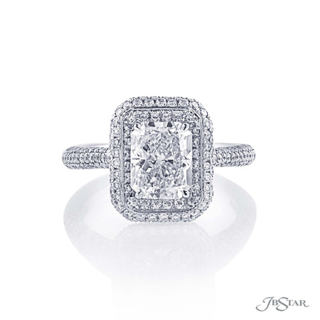 0138-004 | Diamond Engagement 2.01 ct Radiant Cut Halo Setting Front View
