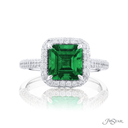 0138-033 | Emerald Ring 1.87 ct. Emerald Cut Micro Pave Setting Front View