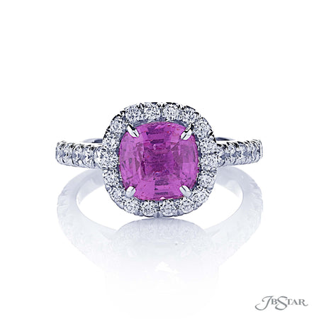 2.58 ct Cushion Cut Pink Sapphire & Diamond Ring, No Heat, 0144-002 front view