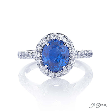 0144-004 | Sapphire & Diamond Ring 2.96 ct. Oval Center Micro Pave Front View