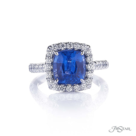 0144-005 4.43 ct Cushion Cut Sapphire & Diamond Ring with Micro Pave Accents front view