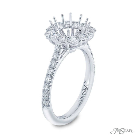 0149-001 Platinum 1.04 ctw Diamond semi-mount halo pave setting ring side view