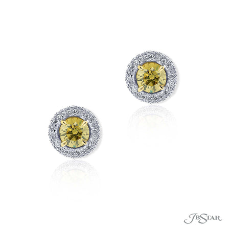 0157-032 | Fancy Blue Diamond Earrings with Micro Pave Halo Round Cut