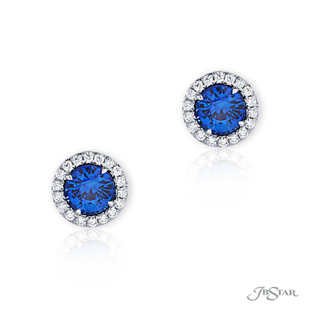 Round Blue Sapphire Earrings with Diamond Pave Halo 0157-040