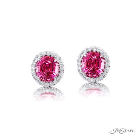 Platinum Oval Pink Spinel Drop Earrings, Diamond Pave Halo 0157-041
