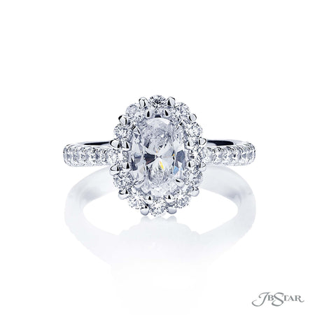0174-003 | Diamond Engagement Ring 0.89 ct Oval Halo Setting Certified Front View