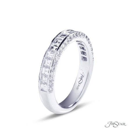 Platinum Diamond Wedding Band with Channel Set Square Emerald cut diamonds and micropave accent