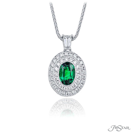 0202-017 | Emerald & Diamond Pendant  1.03 ct Oval Cut