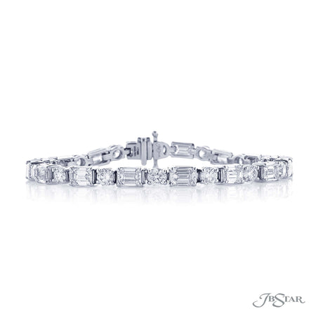 Dazzling diamond bracelet featuring 32 emerald cut and round diamonds in a beautiful alternating design. Handcrafted in a pure platinum prong setting. [details] Stone Information SHAPE TYPE WEIGHT Emerald Diamond 8.16 ctw. Round Diamond 3.74 ctw. [enddetails] | JB Star 0228-001 Bracelets