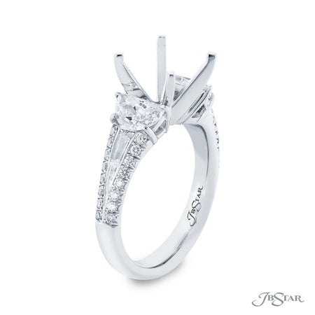 Platinum Diamond Semi Mount Engagement Ring with half moon, tapered baguette and round diamonds 0230-007 side view