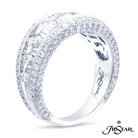 Platinum diamond band handcrafted of 7 marquise diamonds plus 23 tapered baguettes set in a channel with mille-grain edge pave. [details] Center Stone(s) SHAPE TYPE WEIGHT Marquise Round Tapered Baguettes Diamond Diamond Diamond 0.92 ct. 1.03 ct. 0.30 ct. [enddetails] | JB Star 0251-002 Anniversary & Wedding