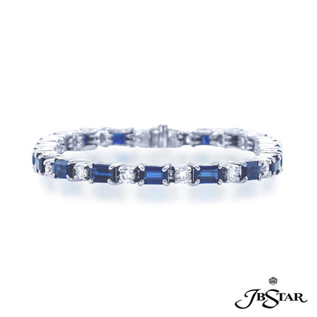 Gorgeous sapphire and diamond bracelet featuring 20 emerald cut sapphires and 20 round diamonds in a beautiful alternating design. Handcrafted in pure platinum. [details] Stone Information SHAPE TYPE WEIGHT Emerald Sapphire 7.65 ctw. Round Diamond 1.78 ctw. [enddetails] | JB Star 0265-002 Bracelets