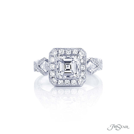0289-002 | Diamond Halo Engagement Ring 1.35 ct Square Emerald Cut Front View